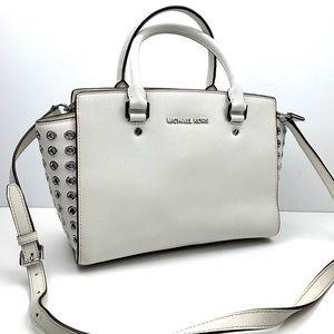 Michael Kors Medium Selma White Leather